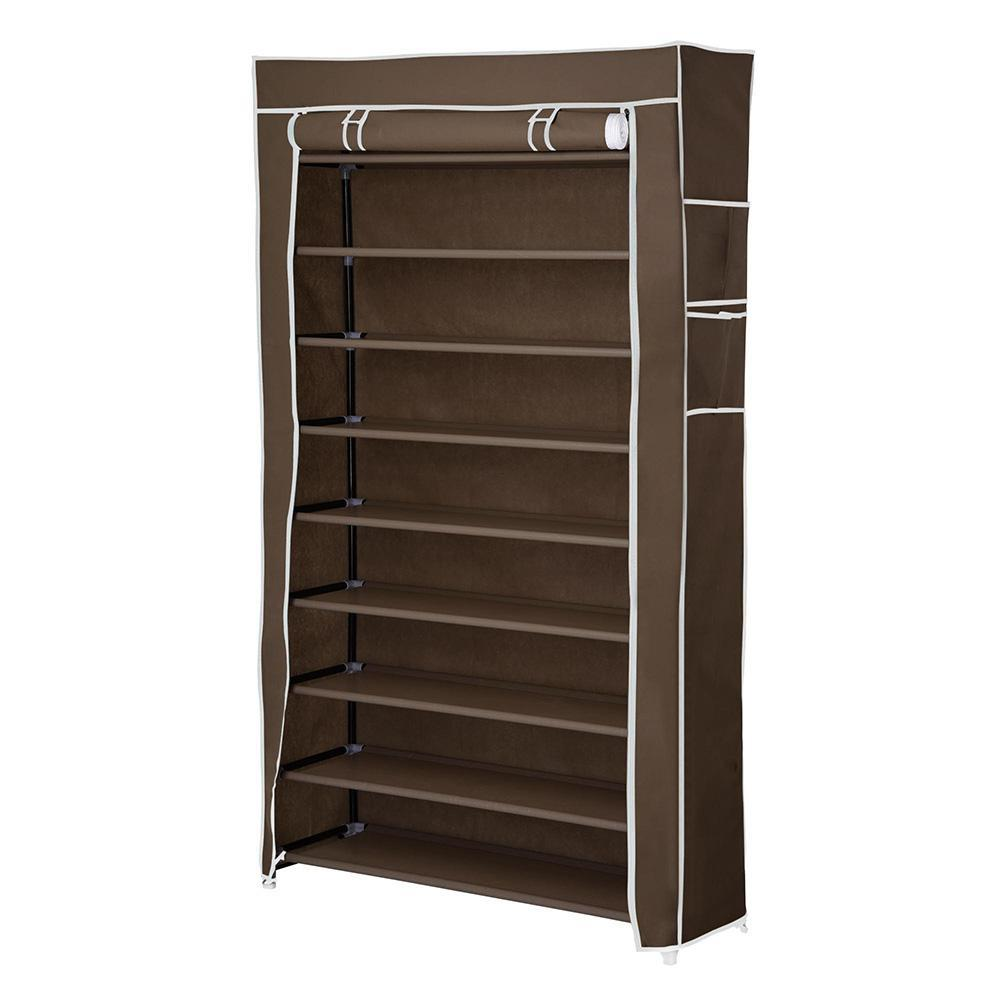 10 Tier Shoe Rack Shelf Closet 45 Pair with Cover 5/8
