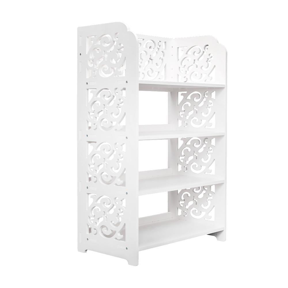 Wood-plastic Board Four Tiers Carved Shoe Rack White A
