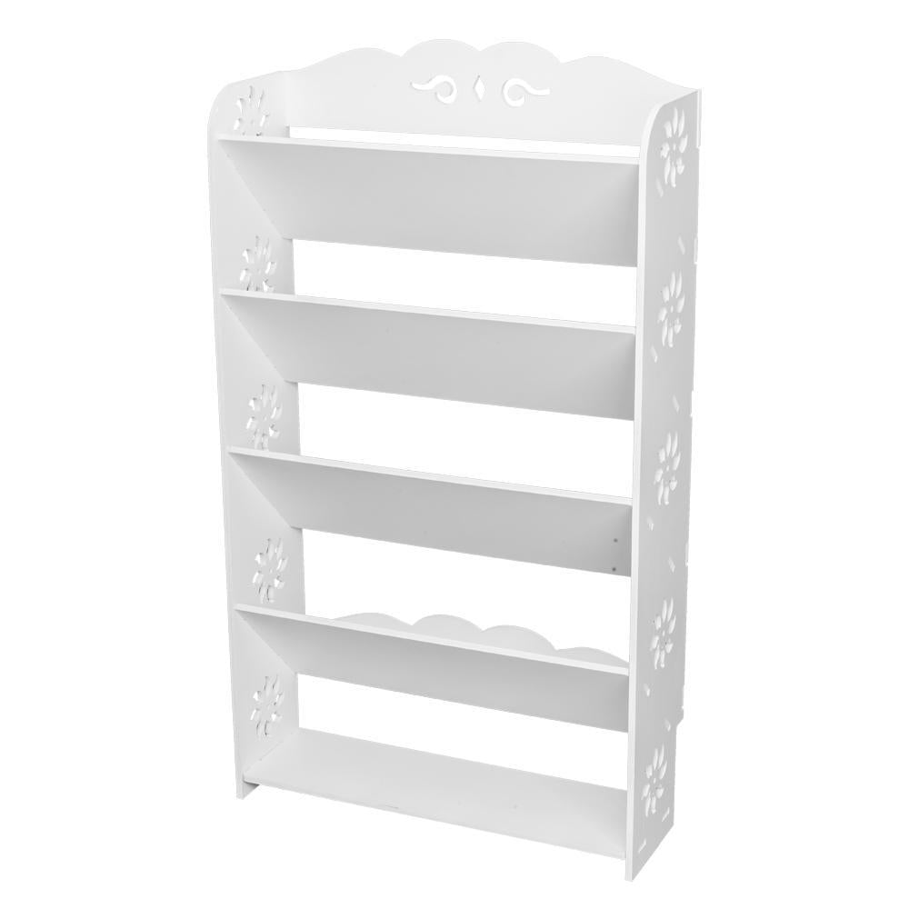 Wood-plastic Board Five Tiers Bevel Carved Shoe Rack White