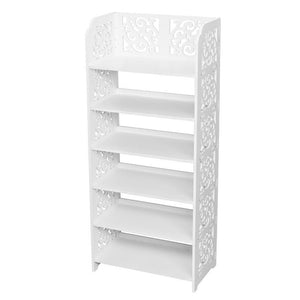 Wood-plastic Board Six Tiers Carved Shoe Rack White A