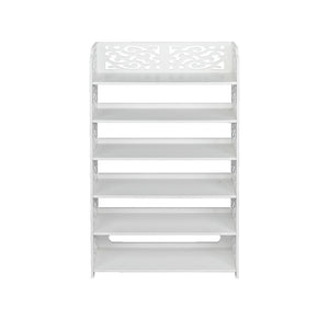 Wood-plastic Board Six Tiers Carved Shoe Rack White B