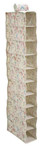 10 Slot Pocket Hanging Shoe Organizer Rack Closet Storage Anti Mold Breathable Fabric Floral Print
