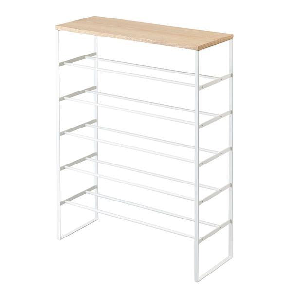 Tower 6 Tier Wood Top Shoe Rack White