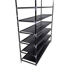 Load image into Gallery viewer, Discover the best meevrie 10 tiers shoe racks space saving non woven fabric shoe storage organizer cabinet tower for bedroom entryway hallway and closet black