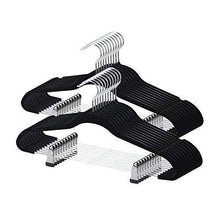 Load image into Gallery viewer, Purchase yikalu clothes hangers with clips 20 pack velvet hangers non slip hangers premium ultra thin pants hangers skirt hangers with swivel hooks for closetblack
