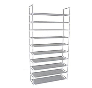 10-Tier Shoe Rack Space Saving Shoe Tower Shelf Cabinet, 50 Pairs Portable Shoe Storage Organizer, Non-Woven Fabric Shoe Rack Closet, Grey