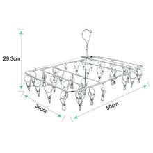 Load image into Gallery viewer, Cheap rosefray laundry clothesline hanging rack for drying sturdy 34 clips collapsible clothes drying rack great to hang in a closet on a shower rod and outside on a patio or deck