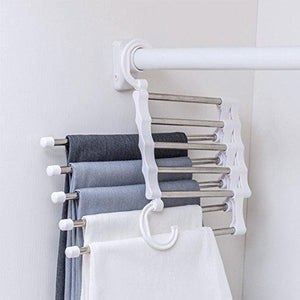 Buy isue set of 2pcs 5 in 1 portable stainless steel clothes pants hangers closet storage organizer for pants jeans hanging 13 38 x 7 2in