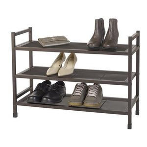 Heavy-Duty Stackable 3-Tier Metal Shoe Rack with Mesh Shelves - Style 5045