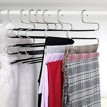 Load image into Gallery viewer, Home ziidoo new s type pants hangers stainless steel closet hangers upgrade non slip design hangers closet space saver for jeans trousers scarf tie 6 piece 1
