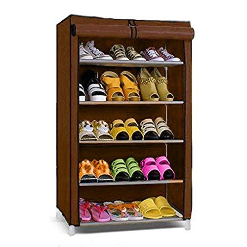 Five Layer Shoe Rack/Shoe Collapsible Almirah Shelf/Folding Shoe Cabinet Portable Foldable Wardrobe, Easy Installation Stand for Shoes- Brown (Brown)