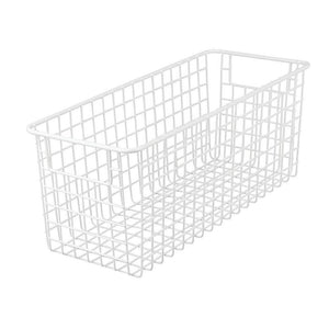 Heavy duty mdesign farmhouse decor metal wire food storage organizer bin basket with handles for kitchen cabinets pantry bathroom laundry room closets garage 16 x 6 x 6 4 pack matte white