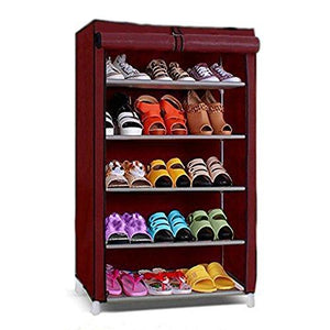 5 Layer Shoe Rack/Shoe Collapsible Almirah Shelf/Folding Shoe Cabinet Portable Foldable Wardrobe, Easy Installation Stand for Shoes