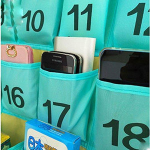Save on lecent numberes classroom pocket chart for cell phones business cards 30 pockets wall door closet mobile hanging storage bag organizer with hooks