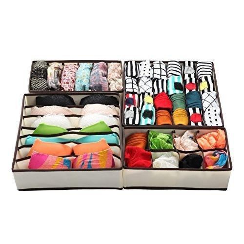 Cheap finnhomy foldable storage closet fabric organizer collect storage under bed organizer drawer divider bins box wardrobe cube set of 4 folding space saving for socks clothing underwear bra beige