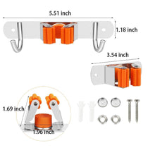 Load image into Gallery viewer, Save vodolo mop broom holder wall mount garden tool organizer stainless steel duty organizer for kitchen bathroom closet garage office laundry screw or adhesive installation orange