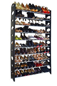 10 Tier Stainless Steel Shoe Rack / Shoe Storage Stackable Shelves, Holds 50 Pairs Of Shoes,60.62 X 38.19 X 7.48 ,Black & Silver