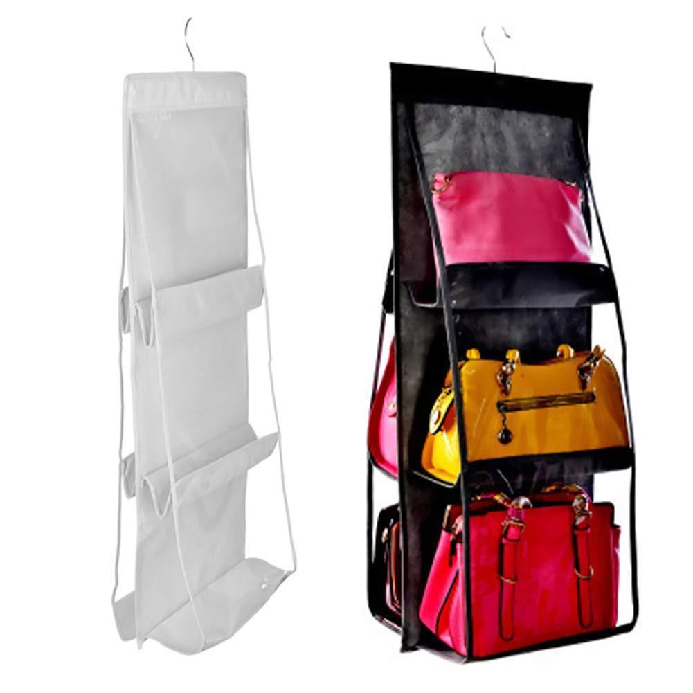 The best luck dawn hanging handbag purse organizer transparent dust proof wardrobe closet storage bag for clutch with 6 larger pockets black