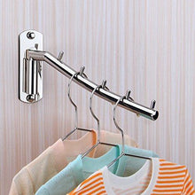 Load image into Gallery viewer, On amazon folding wall mounted clothes hanger rack wall clothes hanger stainless steel swing arm wall mount clothes rack heavy duty drying coat hook clothing hanging system closet storage organizer 1pack
