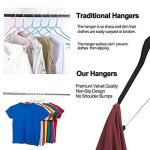 Save yikalu clothes hangers with clips 20 pack velvet hangers non slip hangers premium ultra thin pants hangers skirt hangers with swivel hooks for closetblack