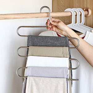 Kitchen ziidoo new s type pants hangers stainless steel closet hangers upgrade non slip design hangers closet space saver for jeans trousers scarf tie 6 piece 1