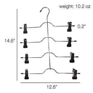 Great 4 tier pants hanger 2 pack trouser hanger skirt hangers with non slip black vinyl clips heavy duty metal hangers ultra thin space saving clothes hangers to organize closet jeans scarf slacks