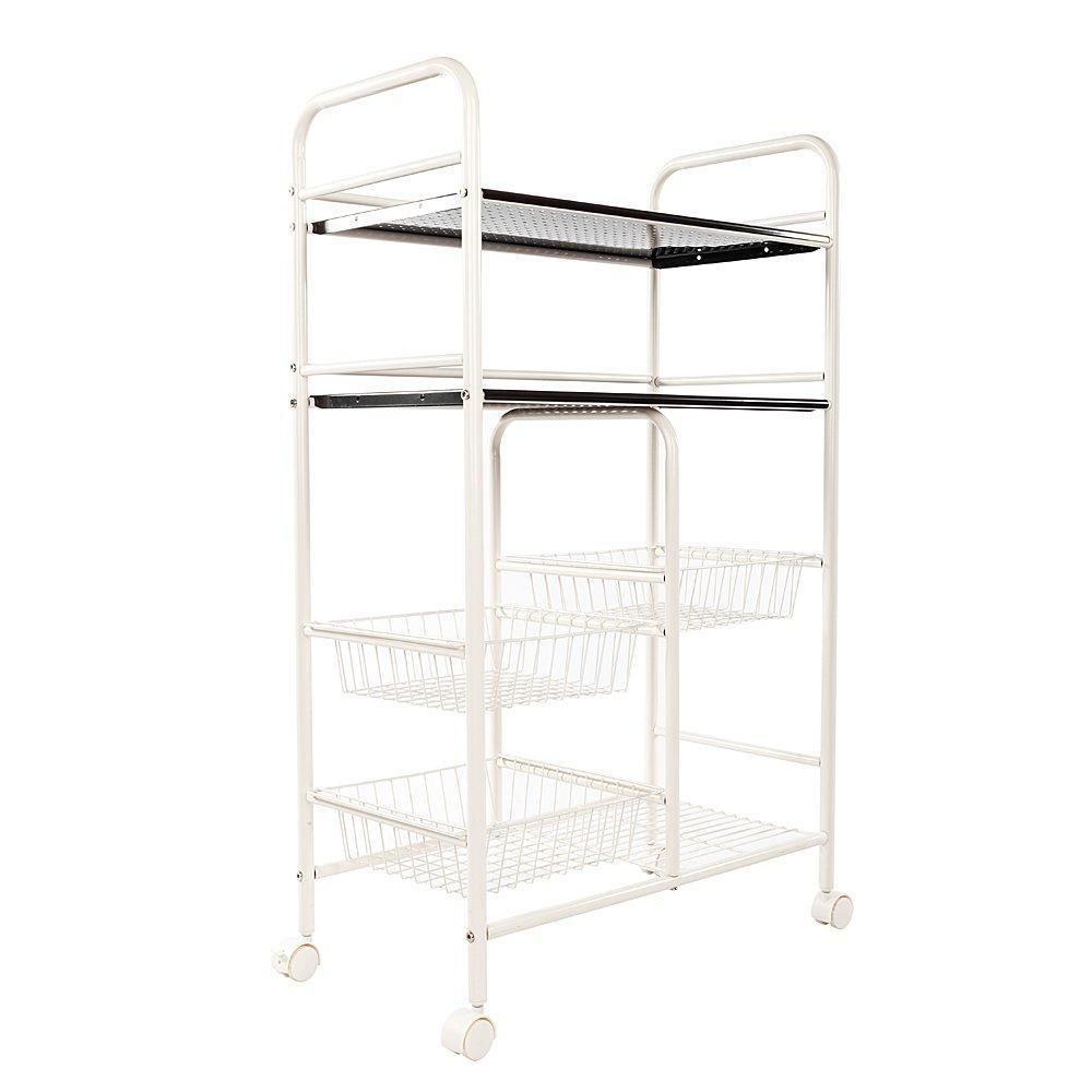 Shop wire shelve rack shelf adjustable cabinet closet unity cart garage storage for pots pans wine dishes storage organizer bathroom bedroom kitchen white 6 lattices