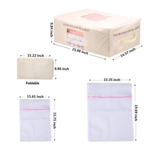 Order now yeasl clothes blanket storage bag set of 4 foldable closet organizer breathable zippered underbed storage bags with see through window extra 2 packs laundry bag