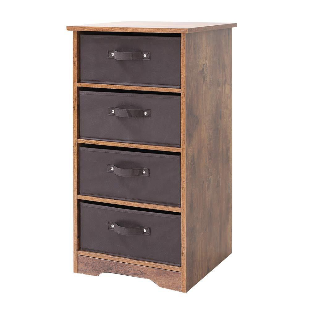 Discover iwell wooden dresser storage tower with removable 4 drawer chest storage organizer dresser for small rooms living room bedroom closet hallway rustic brown sng004f