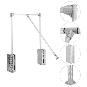 Buy now gototop wardrobe hanger aluminum closet storage organizer clothes hanger adjustable pull down closet rod wardrobe lift organizer 600 830mm