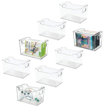 Load image into Gallery viewer, Amazon mdesign plastic storage organizer holder bin box with handles for cube furniture shelving organization for closet kids bedroom bathroom home office 10 x 6 x 6 high 8 pack clear