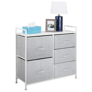 Best mdesign wide dresser storage tower sturdy steel frame wood top easy pull fabric bins organizer unit for bedroom hallway entryway closets textured print 5 drawers gray white
