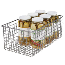 Load image into Gallery viewer, Exclusive mdesign farmhouse decor metal wire food organizer storage bin basket with handles for kitchen cabinets pantry bathroom laundry room closets garage 16 x 9 x 6 in 4 pack graphite gray