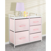 Load image into Gallery viewer, Best mdesign wide dresser storage tower furniture metal frame wood top easy pull fabric bins organizer for kids bedroom hallway entryway closets dorm chevron print 5 drawers pink white