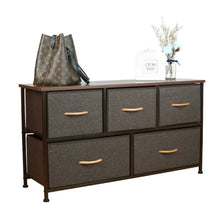 Load image into Gallery viewer, Select nice home dresser storage tower sturdy steel frame mdf wood top removable drawers height adjustable feet storage organizer for room hallway entryway closets 5 drawers espresso 39 5w 21 5h