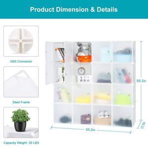 Online shopping honey home modular storage cube closet organizers portable plastic diy wardrobes cabinet shelving with easy closed doors for bedroom office kitchen garage 16 cubes white