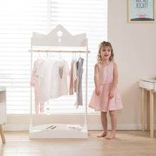 Load image into Gallery viewer, Get jolie vallee toys home 2 in 1 kids wood armoire wardrobe crown clothes rack white baby clothes storage rack standing closet boutique clothes rack organizer for toddler girls 2 5 years