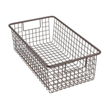 Load image into Gallery viewer, Selection mdesign modern farmhouse metal wire storage organizer bin basket with handles for kitchen cabinets pantry closets bedrooms bathrooms 16 25 long 4 pack bronze