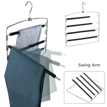 Load image into Gallery viewer, Explore lucky life clothes pants hangers 3 pack pant slack hangers space saving non slip stainless steel closet organizer with foam padded swing arm for pants jeans scarf 1