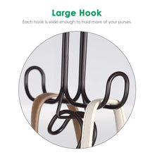 Load image into Gallery viewer, The best tomcare metal purse organizer stackable purse hanger handbag organizer sturdy bag organizer purse holder rack hanging closet organizer for purses handbags backpacks bags totes 6 pack bronze