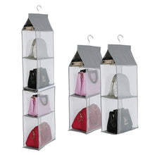 Load image into Gallery viewer, Purchase kingto detachable hanging handbag organizer 4 slot 2 in 1 dustproof foldable sundry wardrobe closet space saving organizers system for living room bedroom home usegrey