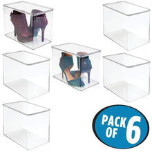 Load image into Gallery viewer, Budget mdesign stackable closet plastic storage bin box with lid container for organizing mens and womens shoes booties pumps sandals wedges flats heels and accessories 9 high 6 pack clear