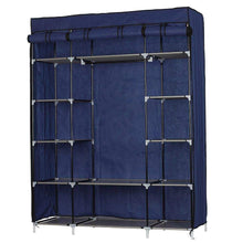 Load image into Gallery viewer, Buy halffle closet storage organizer 5 layer 12 compartment non woven fabric wardrobe portable clothes closet shelves with metal shelves and dustproof non woven fabric cover us stock navy blue