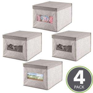 Save on mdesign decorative soft stackable fabric closet storage organizer holder box clear window lid for child kids room nursery large collapsible foldable textured print 4 pack linen tan