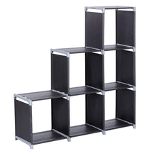 Load image into Gallery viewer, Top multifunctional assembled 3 tier 6 compartment storage cube closet organizer shelf 6 cubes bookcase storage black 6 cubes
