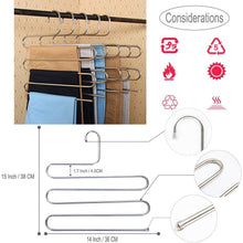 Load image into Gallery viewer, Top rated 4 pack s type hanger for clothing closet storage stainless steel pants hangers with 5 layers multi purpose loveyal limited space storage rack for trousers towels scarfs ties jeans 4