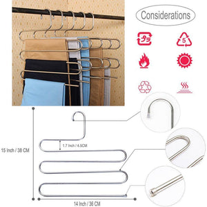 Top rated 4 pack s type hanger for clothing closet storage stainless steel pants hangers with 5 layers multi purpose loveyal limited space storage rack for trousers towels scarfs ties jeans 4