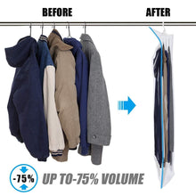 Load image into Gallery viewer, Budget mrs bag hanging vacuum storage bags 6 pack 3jumbo57x27 6 3short41 3x27 6 space saver bag dress cover with hook for coats jackets clothes closet storage hand pump included