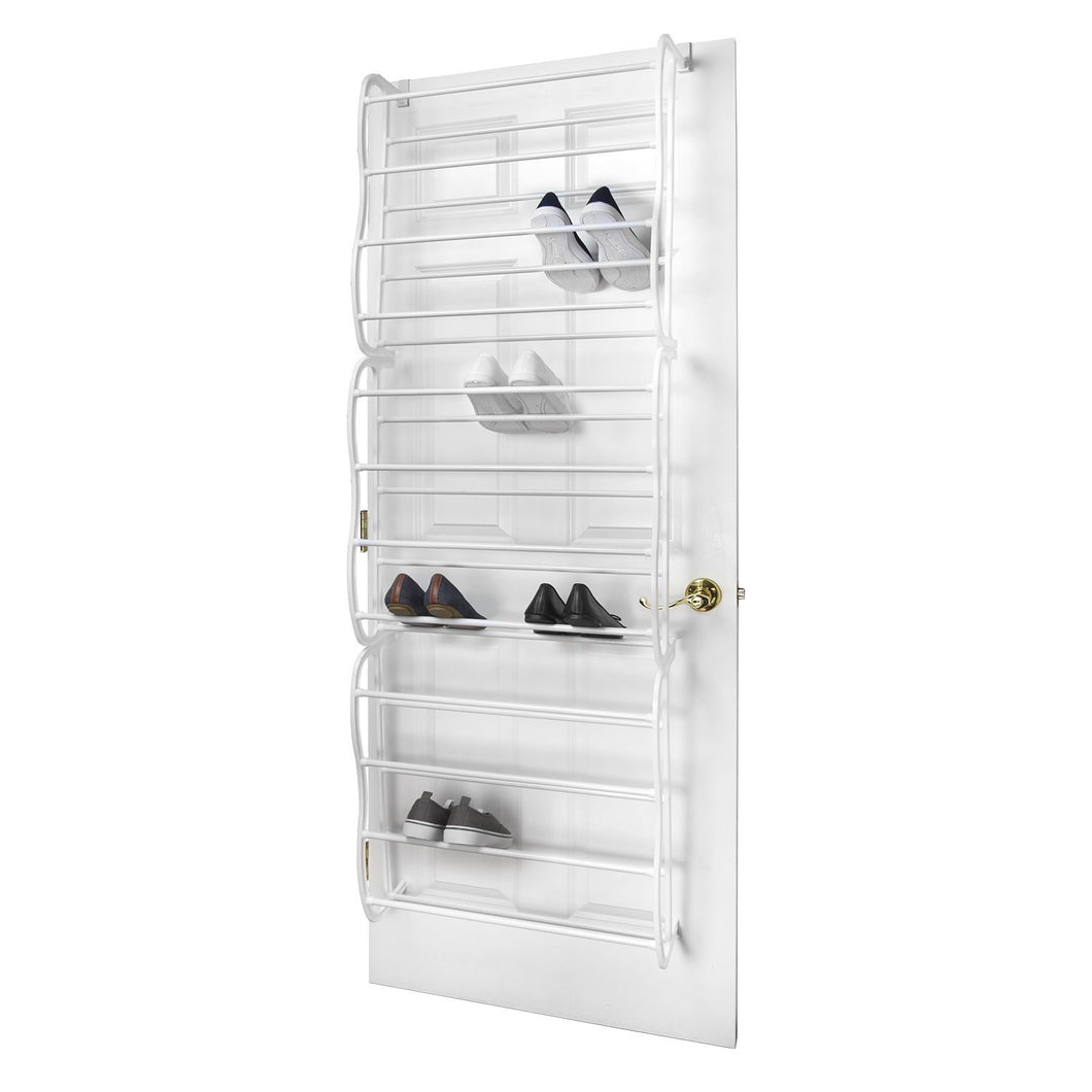 Sunbeam 36 Pair Easy Assemble Over the Door Shoe Rack in Black or White
