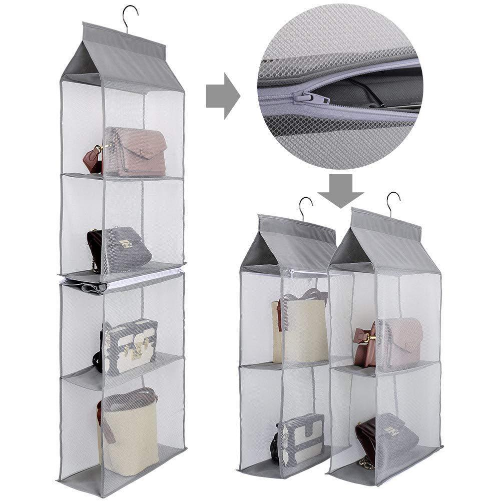 Budget friendly aoolife hanging purse handbag organizer clear hanging shelf bag collection storage holder dust proof closet wardrobe hatstand space saver 4 shelf grey
